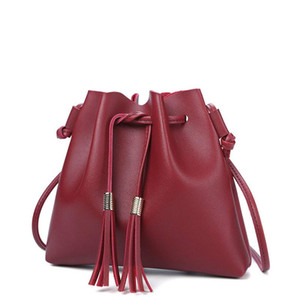 Fashion String Bucket Bag for Women PU Leather Small Handbag Female Tassel Purse Shoulder Crossbody Bags Sac Main Femme