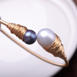 10-12MM super large natural growth colorful pearl high lust 18k plated wire winding hand-manual charming bracele deep purple and white color