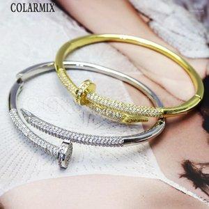 Brazalete 3 PCS Colorido Zircon Snake Bangles Smop Fashion Gem Jewelry para mujeres 511231