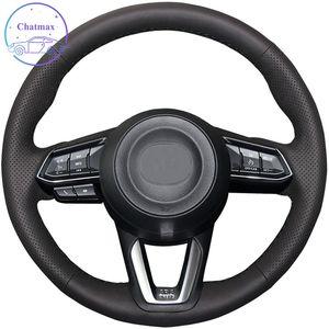 DIY Özel Araba Direksiyon Kapak Mazda 3 6 CX-3 CX-5 CX-9 2016-2019 El Dikiş Siyah Hakiki Deri Sarma