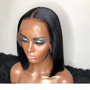 Silk Top Lace Front Wig Yaki Straight Natural Black Wig 5*5 PU Silk Top Bob Wig with Baby Hair Glueless Brazilian Remy Hair