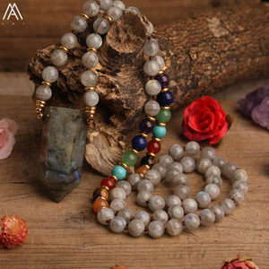 Natural Labradorite Stone Point Pendant Fragrant Sandalwood Round Beads Mala Necklace For Women Meditation Necklace Jewelry Gift