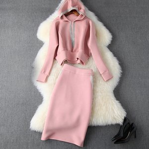 2019 Autumn Winter Pink Long Sleeve Cotton Panelled Hooded Sweatshirt + Mid-Calf Skirt Two Piece 2 Pieces Set N11T10424