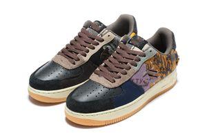 Travis Scott X 1 scarpe da cermpeggio di cactus basso Cactus Houston Omillers scarpa da basket media oliva polychrome oro Sneaker di punta taglia36-45