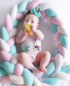 1Pcs 2M Baby Handmade Newborn Bed Bumper Long Knotted Braid Pillow Baby Bed Bumper Knot Crib Infant Room Decor1