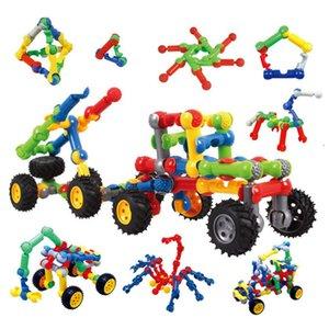 arrangement de fleurs en plastique pour enfants, bloc brut, squelette variable, barre de structure commune, puzzle voiture de montage de jouet amusant bricolage