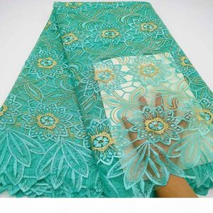 Aqua green African Lace Fabric High Quality French Tulle Lace Fabric 2019 Nigerian Laces Guipure Embroidery Fabric For Wedding