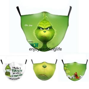 US-Lager-Grinch-Stoler-Weihnachtsgesichtsmaske Designer-Mode-Masken-Druckmasken staubdicht winddicht und dunstauschbare pm2.5 Filterwaschmaske