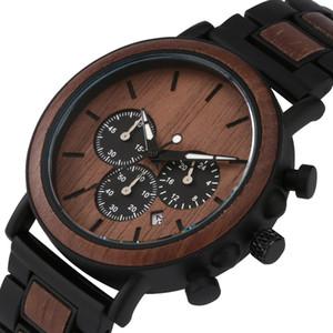 Natural Wood Watch para Homens Luxo Multifuncional Calendário Data Mens Black Banda De Madeira Homem Sandalwood Masculino WristWatch relógios de quartzo