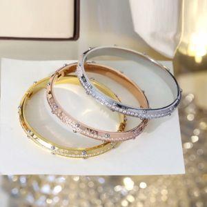 Europe America Fashion Style Lady Women Titanium steel Engraved V Initials Flower Settings Diamond Rivets Bangle Bracelet 3 Color