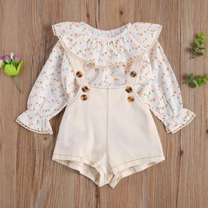 Pudcoco Newborn Baby Girl Clothes 2Pcs Outfits Girl's Ruffled Crew Neck Sleeve Flower Leaf Shirt Printing Solid Button Overalls