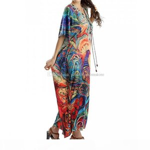 2020 Kaftan Beach Cover-Ups Long Cotton Tunic Swimwear Bohemian Printed Loose Summer Dress Robe Plus Size Women Beachwear Swimsuit Cover Up
