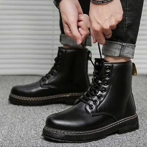 Martin Boots Мужчины Мужчины Кожаный Высокий Великолепный Британский Все-Матч Классический Knight Boot Trend Осень Мужчины Knight Boots Открытый Повседневная Инструментальная сапоги