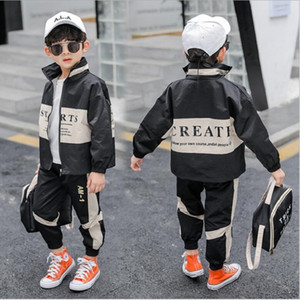 2020 Spring and Autumn New Boy Children's Leisure Sports Two-piece Color Matching Fashionable Letter Suit