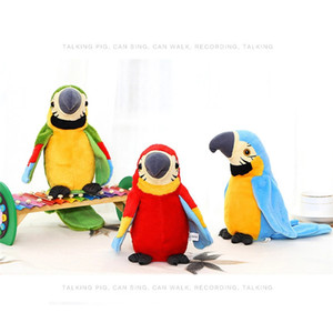 Electric Talking Parrot Plush Toy Cute Speaking Record Repeats Waving Wings Electroni Bird Stuffed Plush Toy Kids Birthday Gift