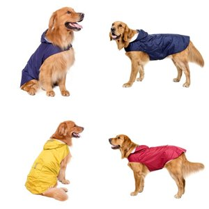 Big Dog Raincoat Waterproof Reflective Grid Hooded Pet Rain Clothes Outdoor Retriever Dogs Apparel Fashion Accessories 33dt G2