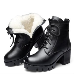 CS830 Designer boots women Keep Warm 100% Genuine Leather High heel wool Sheepskin lining Snow boots erkek bot zapatos de mujer