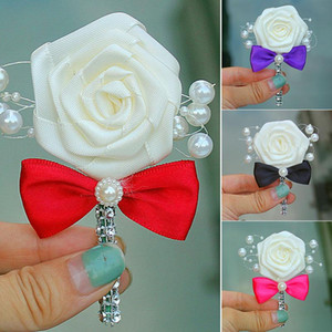 Wholesale Ivory Rose Flower Orange Bow Tie Wedding Corsages Boutonniere Groom Pearl Men's Wedding Flowers Brooch 6C1205