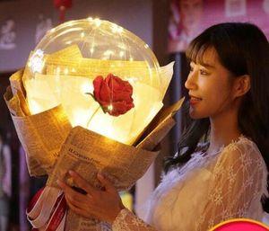 8styles Led Rose Balloon Transparent Rose Bobo Ball Rose Flower Bouquet Balloons With Light Wedding Decoration Valen wmtjxk xhlove