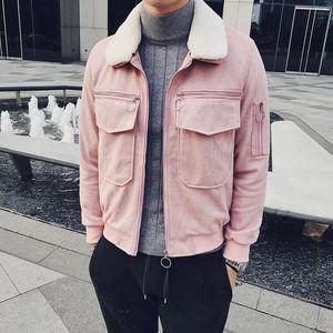 2020 Mens Bomber Jackets Mens Pink Fur Coat Winter Jacket Short Slim Fit Social Chaquetas Hombre Erkek Kurk Yaka Mont Kaban