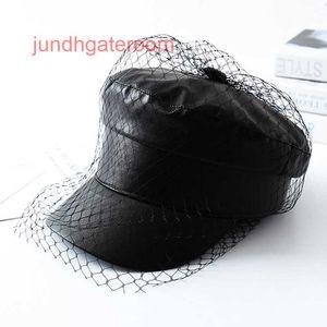 FactoryYlJFEN u Black Lente New PU Sommer Maxsiti Kant Sluier Paper Salesman Caps FMale-Modus Hüte