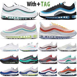 2020 Top 97 Aqua Blue Aurora Green Reflective Mens Mujeres Running Shoes Cushion Air Cushion 97S OG Bullet Pascua EE.UU. Deportes Deportes Zapatillas de deporte