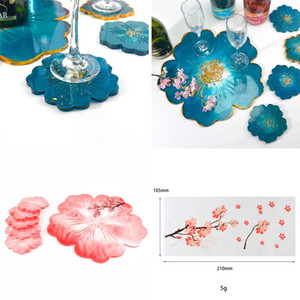 1 Set Wine Glass Clear Flower Cup Mat Epoxy Resin Molds Glass Coasters For Diy Resin Epoxy Mold Silicone Jewelry Crafts Making sqcTxz