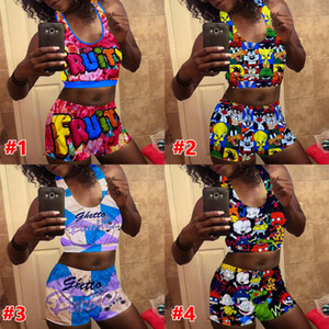 Women Yoga Pants Two Pieces Set Sexy Slim Letter Printed Sleeveless Vest Shorts Ladies New Fashion Hot Pants Suit 2020