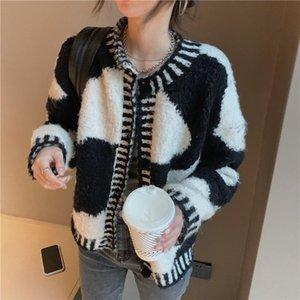 Female Cardigan Loose Streetwear Knit Sweater Coat Cute Cartoon Milk Cow Pattern O Neck Knitted Cardigan Women Jacket Outwear