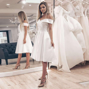 2021 Little White Dress Off the Shoulder A-line Wedding Dresses Cheap Short Wedding Dress Knee-Length Satin Bridal Gowns Robe De Mariage