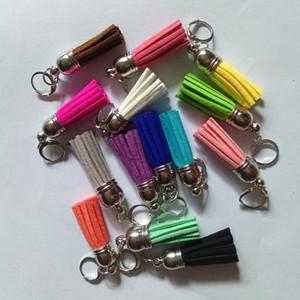 12 pcs lot Suede Tassels Keychain 3 cm Tassel Keyring Bag Charms 15 Colors Pure Color Tassel Pendant For Bag Zipper Bracelet