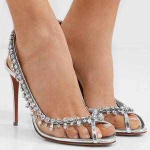Summer Glitter Diamond PVC Wedding Shoes Crystal Back Strap Peep Toe Stiletto Heel Sandals Transparent Evening Party Pumps