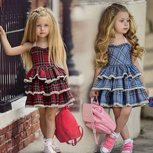 Каждая девочек платья новая красная пледа Print TUTU Party Camisole платье лето без рукавов принцессы платье детская детская одежда W1227