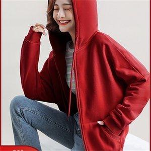 Mizi Flag Hat Plush coat women loose Korean 2020 new autumn winter zipper cardigan student sweater