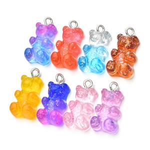 100 pcs Cute gummy bear pingente encantos para colar bracelete brincos jóias DIY descobertas resina ursos 2.1 * 1.1cm