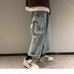 Men's Straight Autumn Wide Legs Casual Jeans Man 2020 Korean Hip Hop Large Trousers Safari Style Loose Denim Pants