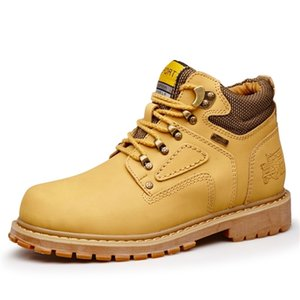 Yellow Cat Leather Ankle Timber Casual land Work Boots Waterproof Bot Men Winter Shoes Big Size Y200915