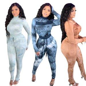 Slim Täfeler Designer Zwei Teile Sets Crew Neck Damen Trainingsanzüge Mode Gedruckte Frauen Zwei Stück Hosen