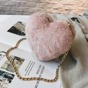 Designer- Faux Fur Heart Shape Small Shoulder Bag For Women Winter Fashion Hair Mini Chain Bag Love Diagonal Phone