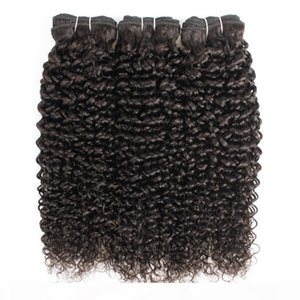 Natural Color 3 Bundles Jerry Curly Hair Extensions Afroart brasilianische peruanische Malaysian Indian Jungfrau-Menschenhaar-Webart