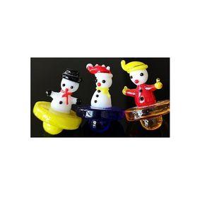 2020 Arrival Cute Snowman Carb Cap Colorful Glass Carb Cap For Quartz Banger As Chrismas Gift Dab Tool Smoking Accessories