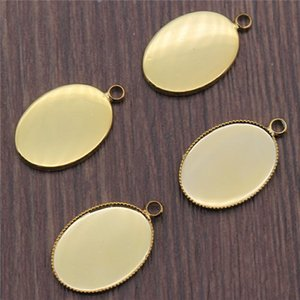 10pcs 6 Colors Fit 13x18 18x25mm Oval Glass Cabochon Sawtooth Edge Base Setting Charms Pendant Tray H bbyTzI