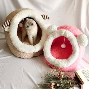 Cute Cat Bed House Winter Warm Caldo Pet Letto Cat Letto per cani per piccoli cani gatti morbidi cucciolo di gatto nido per canile con bytgr rimovibile