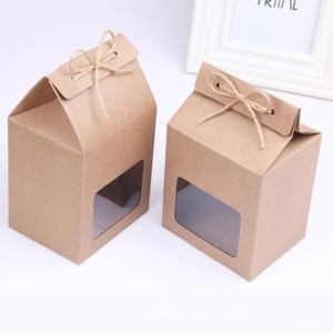 2pcs Kraft Paper Gift Box With Ribbon Cake Chocolates Candy Packaging Bags Extra Thick Clear PVC Window Seal Box Wedding Favors