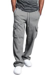 Erkek Kargo Pantolon Rahat Mluti Cep Gevşek Spor Düz Pantolon İpli Elastik Bel Moda Erkek Giyim