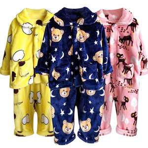 Children's Pajamas Set 2020 Toddler Baby Boy Girl Winter Clothes Set Flannel Warm Sleepwear Set 2pcs Suit Outfits Kids Clothing LJ200915
