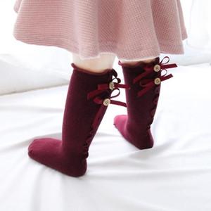 10 colori Bambini Farfalla Principessa Sock Girls Bow-nodo Baby Girls Cotone Cotton Socks Bow Knit Ginocchio Alto Calzini per bambini Abbigliamento per bambini 0-8Y CCD3293