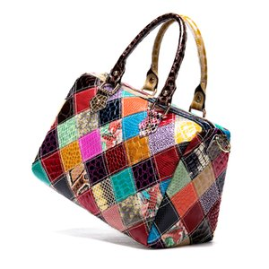 HBP WESTAL Women's Leather Bags Patchwork Top-handle Bags women's bag genuine leather handbags designer shoulder bags female 277