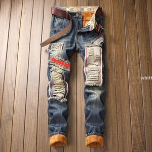 2021 Men &#039 ;S Warm Lined Destroyed Ripped Biker Jeans Trousers Thick Thermal Denim Distressed Jeans For Men Jeans Pants z