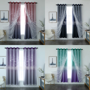Hollowing Out Double Deck Curtain Yarn Christmas Bay Window Frames Curtains Bedroom Living Room Sunblind Simplicity Modern 46xs G2